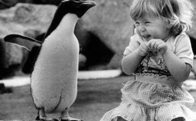 penguin with girl